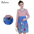 Breastfeeding Dress for Feeding Plus Size Women's Clothing for Nursing Mothers Embroidery Stripe Slim Pregnancy Nursing Dresses