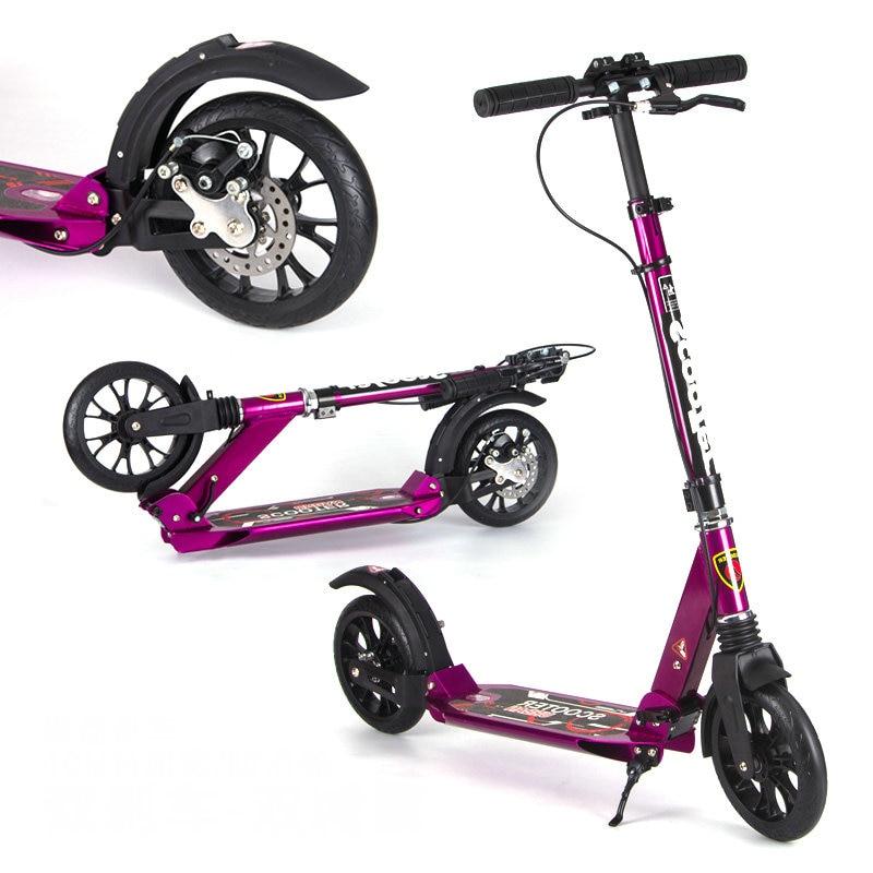 Chegada nova disk freio roxo adulto scooter com 20*4cm grande roda do plutônio, dupla absorção de choque adolescentes scooter pode carregar 150 kg