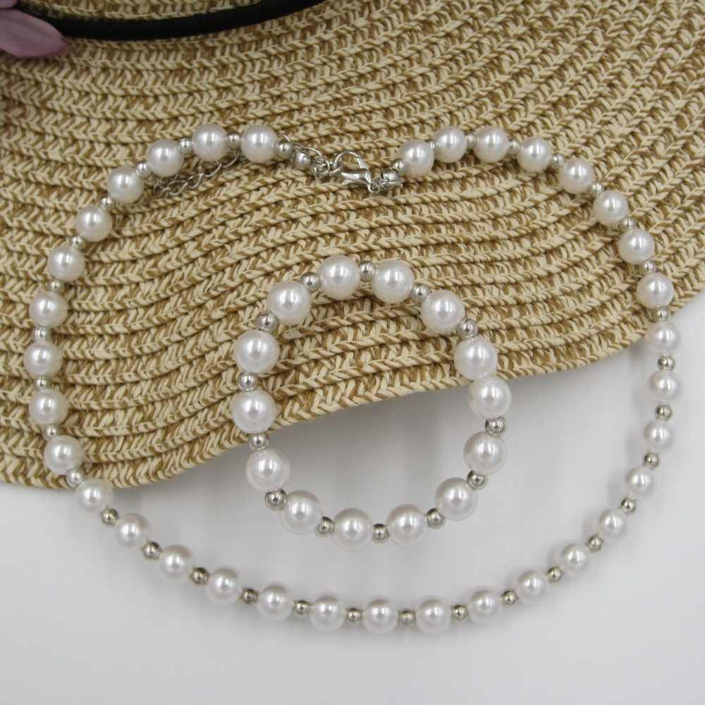 Girls Lovely 8MM Pearl Bubblegum Necklace Chunky Beads Strand Bracelets Kids Fancy Dress Ourfits Jewelry Set Birthday Party Gift
