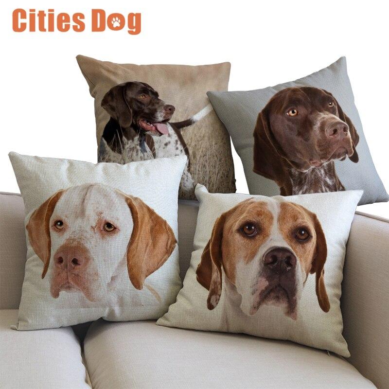 Table & Sofa Linens Cushion Cover Decorative Cushion Cover Pillows Case Cojines Decoracion Para El Hogar Linen Animal Pointer Dog 45x45 Throw Car Pillow Covers