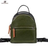 Defenise Luxury Genuine Leather Backpack Large Capacity Solid Black Green Women Fashion Backpack Teenage Girls School Travel Bag