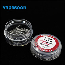 1 box vapesoon Electronic Cigarette Vape replacement DIY Wire Quad premade Coil 0.36ohm for DIY RDA RBA Atomizer Vaporizer