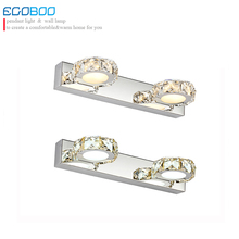 Ecobrt LIGHTING Modern 6W 32CM Round crystal bathroom lighting Champane &Transparent  color mirror LED lamps