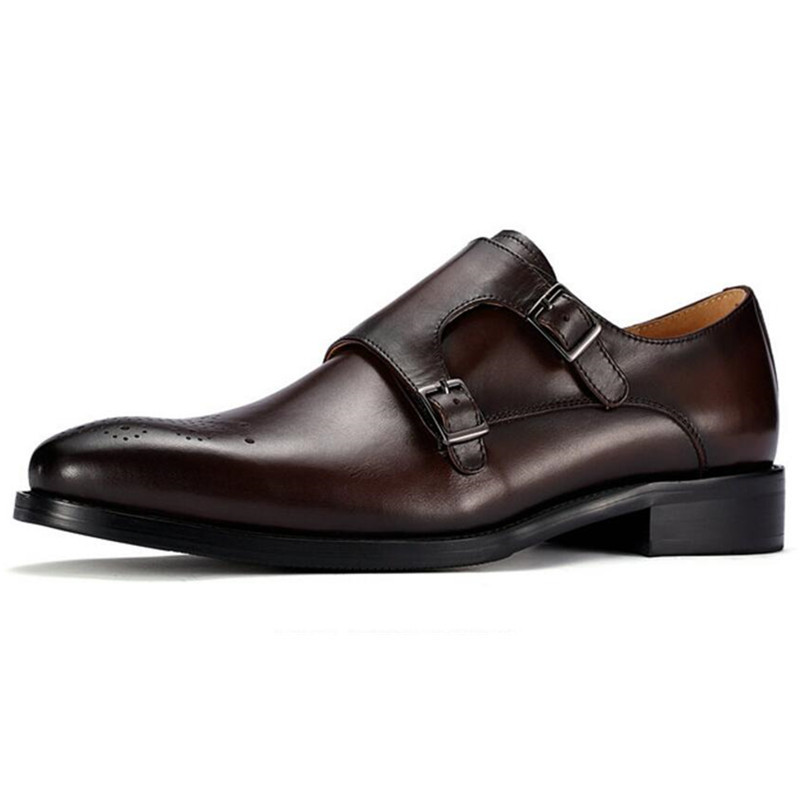 Italian Handmade Craft Men Monk Strap Shoes Brogue Height Increased Elevated Bridegroom Wedding Dress Shoes Leather monk shoes florsheim monk shoes