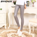 2016 New Casual Matte PU Leather Pants Leggings Slim Thin Elastic Leggings Fashion Cat Label Skinny Legging Trousers Women