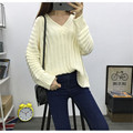 2016 new Real shot in Europe and America new winter sweater big yards students loose wild solid color V-neck sweater knit Women