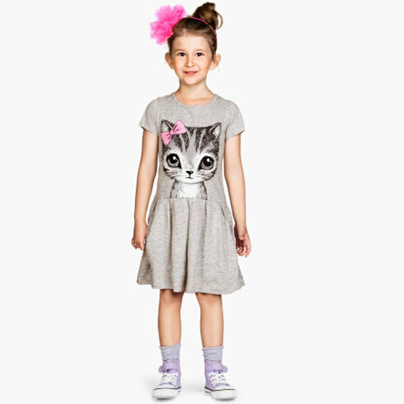 B&N Hot Sale Summer Cute Girl dresses Cat Print Fashion Baby Girl Dress Grey Pink Cotton Children Clothing1