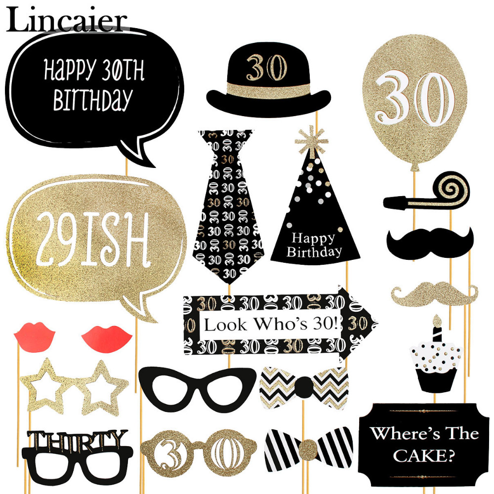 Big happy birthday badges party products party delights - Lincaier 30th 40th 50th Happy Birthday Party Decorations Supplies Photo Booth Props 30 40 50 Years