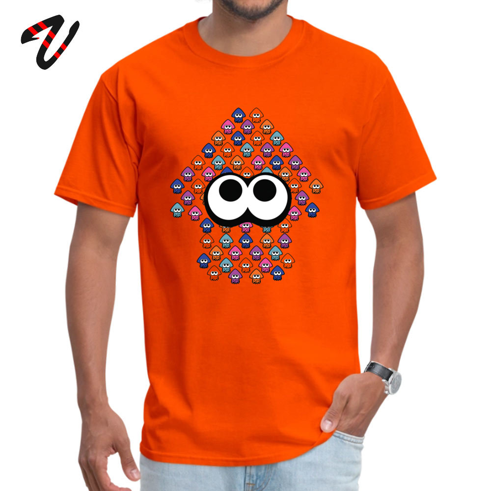 Group Top T-shirts Simple Style Short Sleeve Slim Fit Round Collar 100% Cotton Fabric Tees Summer Tshirts for Men VALENTINE DAY Splatoon Inspired Squid made of Squid 702 orange
