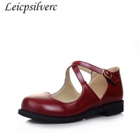 Women Pumps Spring Autumn Sexy New Fashion Pu Buckle Square Heel Round Toe Lolita Sweet Casual Party Shoes Red Beige Black