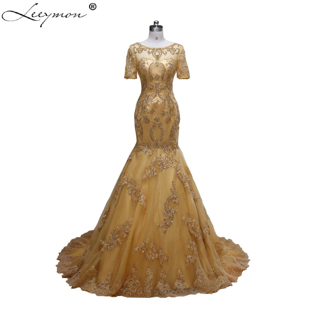 Elegant Gold Mermaid Short Sleeve Bridal Gowns With
