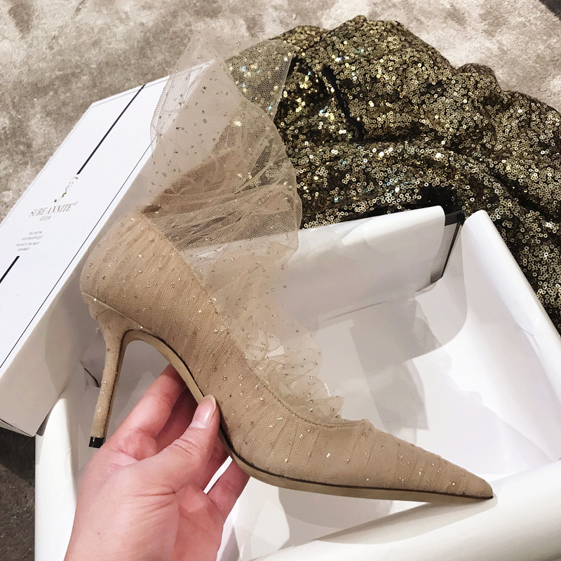 Chaussures 9cm Hee Mujer De Superposition Black Marque Tulle Luxe nude 9cm À Suede Avec Femmes Paillettes Slipona Pompes Haute D'été Zapatos Printemps rqrdxYTHw