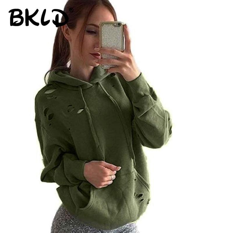 BKLD Harajuku sólido con capucha Casual 2018 Otoño Invierno ejército Verde  Negro Pullover suelta Sudadera con capucha de las mujeres Sudadera con  capucha a74a91f3f17