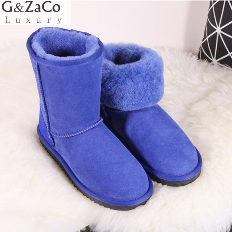 G&Zaco Luxury Brand Winter Classic Sheepskin Snow Boots Natural Wool Sheep Fur Boots Mid Calf Tube Women Boots Flat Sheep Shoes