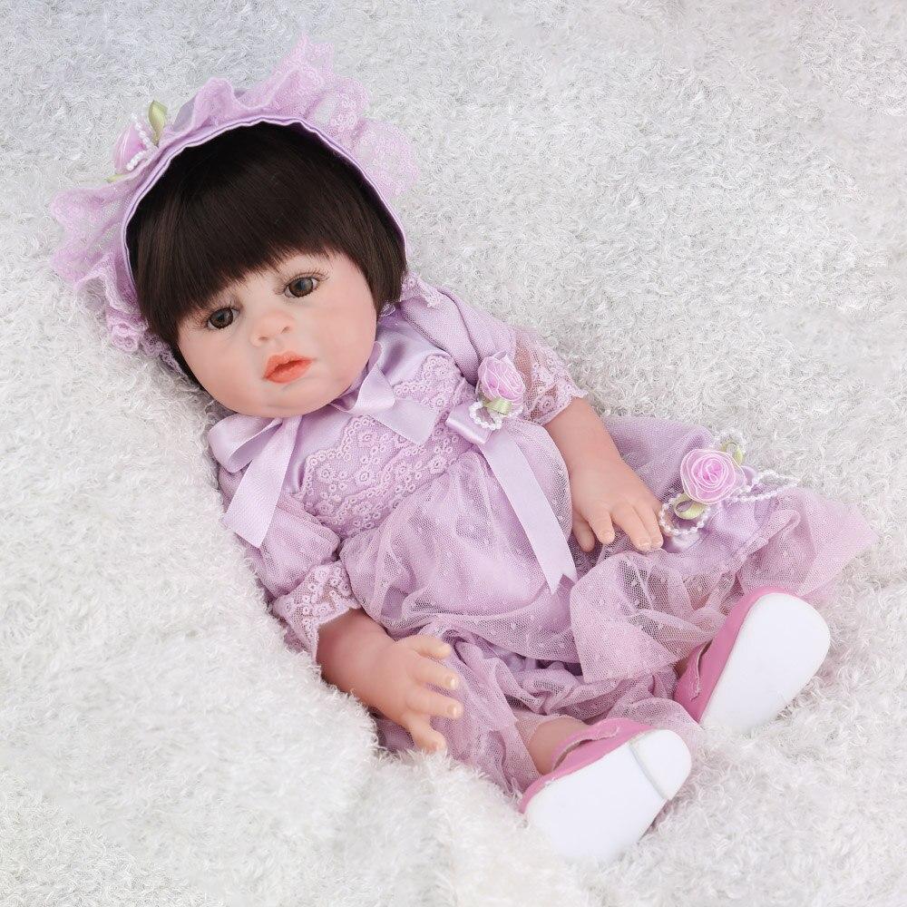 NPKDOLL Reborn bébé poupée fille jouets plein vinyle réaliste réaliste violet robe nouveau-né faux infantile noir cheveux perruques Dollhouse mignon - 4