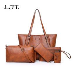 LJT женская сумка набор 5 шт. кожаная сумка женская большая сумка-тоут женская сумка на плечо сумки бренды дизайнерская женская сумка Sac