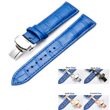 Handmade 14 15 16 17 18 19 20mm Genuine Leather Watch Band Replace Butterfly Folding Clasp Buckle Blue Strap Watchbands And Tool стоимость