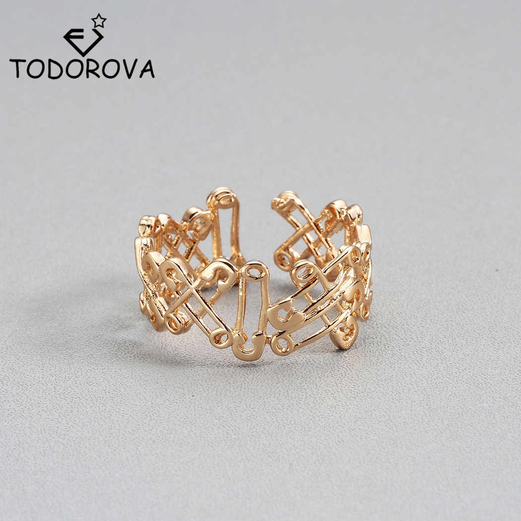 Todorova Punk Rock Pin Connected Adjustable Rings for Women Jewelry Gold Color Mens Rings Female Anel bague femme Ringen