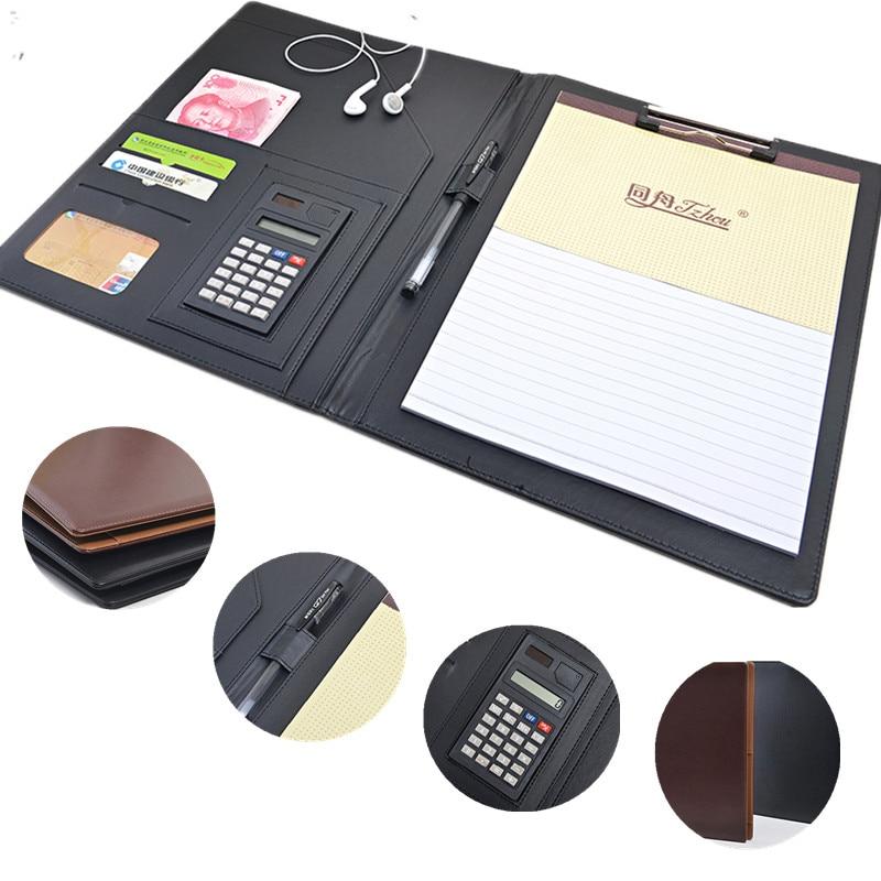 A4 multifunction multifunctional busine Padfolio leather portfolio clipboard document Pen holder file folder management notebook selected topics in bond portfolio management