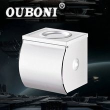 OUBONI Aluminum Paper Box Roll Holder Toilet Paper Holder Tissue Box Bathroom Accessories Bath Hardware Ashtray Use Wall Mounted