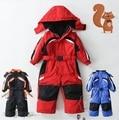 Criança um pedaço terno de esqui criança do sexo feminino terno de esqui masculino criança roupa interior de algodão do bebê de uma peça macacão revestimento ao ar livre