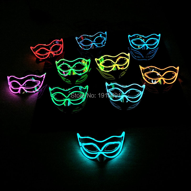 Free Shipping Wholesale 5Pcs/Lot Masquerade Decor Neon LED Glittery Dance Queen Mask Novelty Lighting EL Cold Light Fox Mask