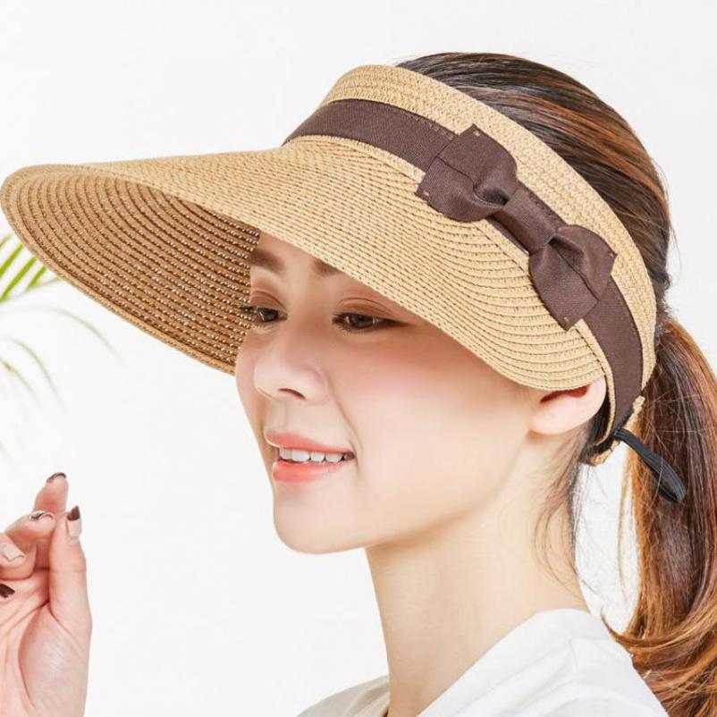 COKK Summer Hats For Women Wide Brim With Bow Sun Hat For Beach Outdoor Straw Hat Female Tennis Visor Chapeu Feminino Toca in Women 39 s Sun Hats from Apparel Accessories