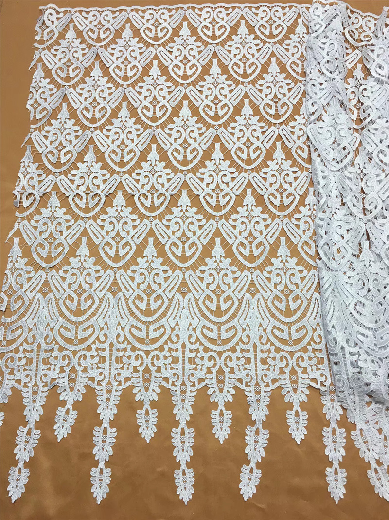 Image 3 - Free shipping (5yards/pc) Beautiful African big cord lace fabric  white guipure lace fabric withh fashion tassel for dress WL3941cord  laceguipure laceguipure lace fabric