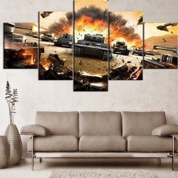 Hot Sell 5 Pieces Canvas Painting Print Game Battlefield 3 Tanks Type Poster Home Decor Modern Living Room Or Bedroom Framework