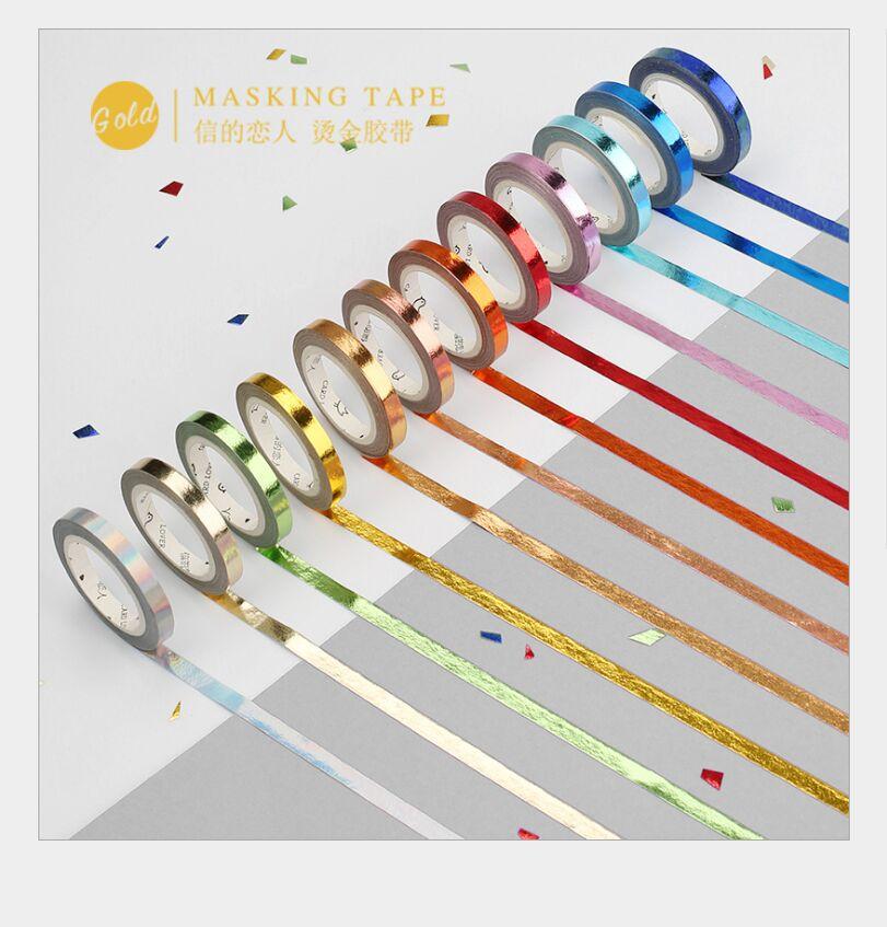 5mm Gold Foil Color Slim Mosaic Gold Glittering Washi Tape DIY Planner Diary Scrapbooking Masking Tape Escolar