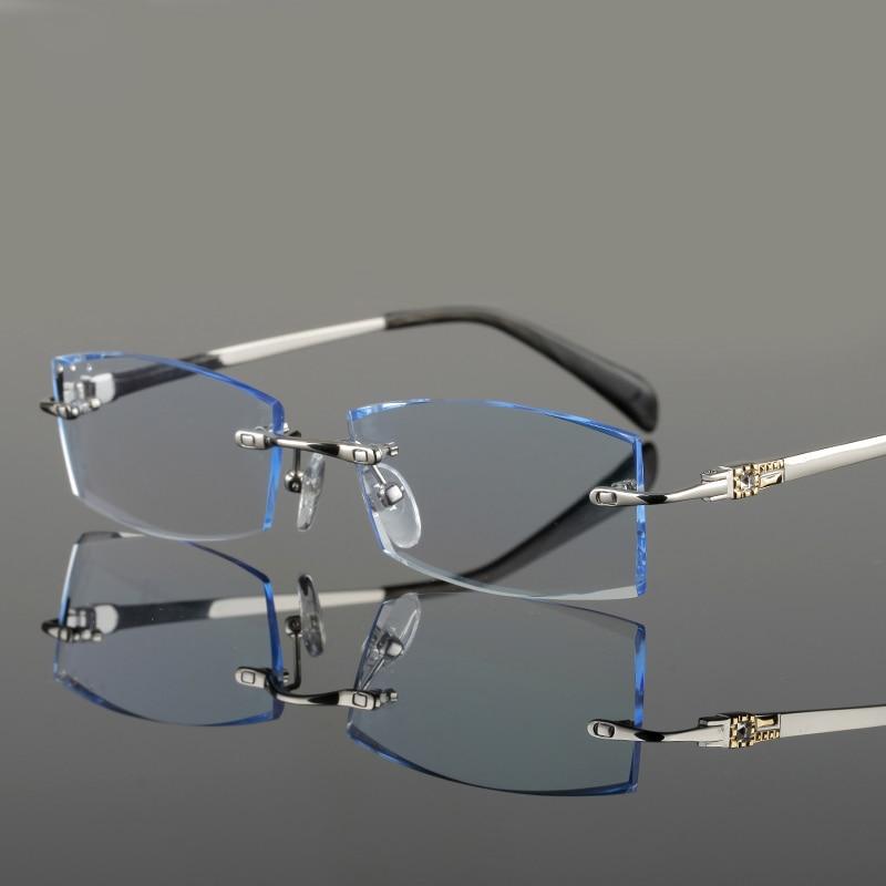 Hohe Spektakel 648 Randlose Brillen Rahmen Gold gold Männer Gray Rezept Gläser Komplette Computer Männlichen Klare silver Design Linse r608rnP