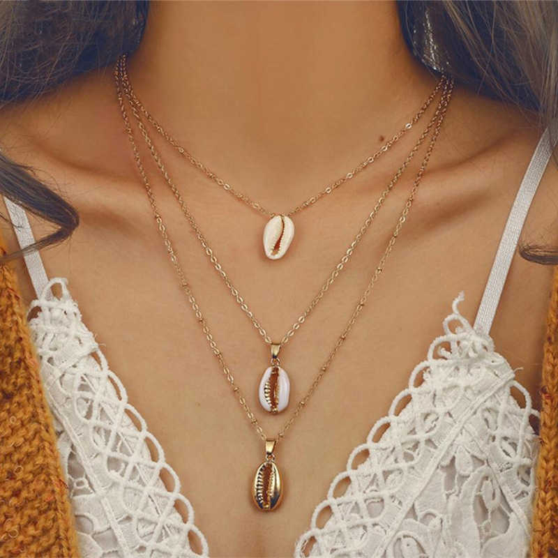 2019 Multilayer Shell Trendy Necklace for Women Gold Color Long Chain Seashell Ocean Beach Boho Pendant Necklaces Jewelry