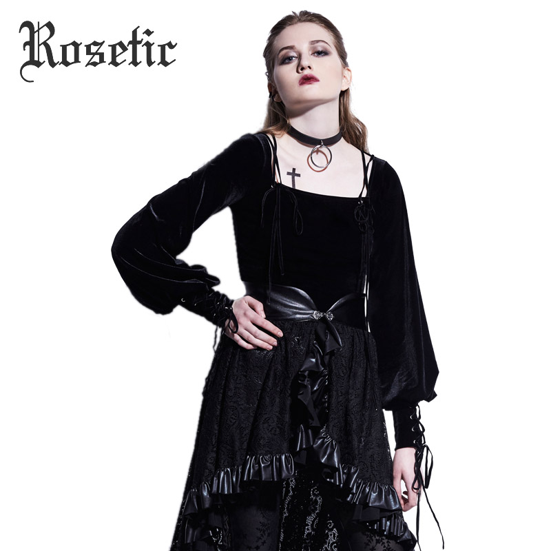 Rosetic Gothic Velvet Fabric Square Collar Lantern Sleeve Bandage Tops Tee Women 2017Autumn New Style Lace-Up Black T-Shirts