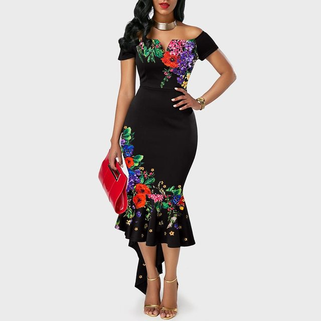 Summer Chinese Style Elegant Party Chic Women Long Dresses Plus Size Vintage African Off Shoulder Floral Female Fashion Dress