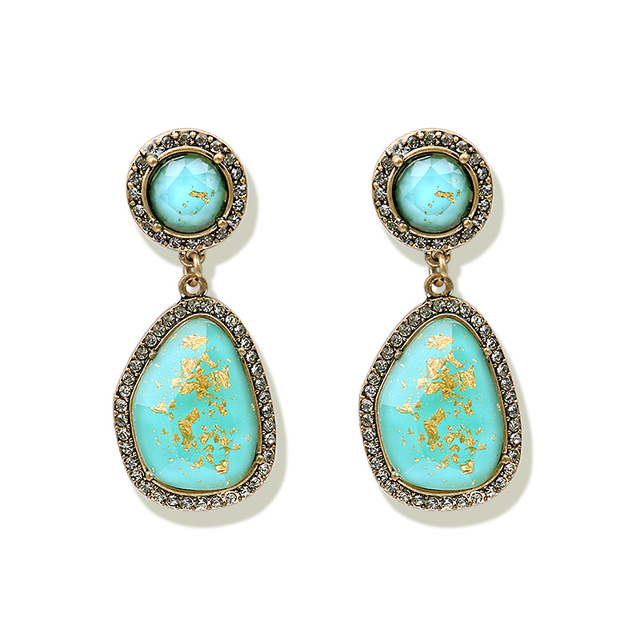 LWONG Vintage Gold Color Natural Stone Drop Earrings for Women