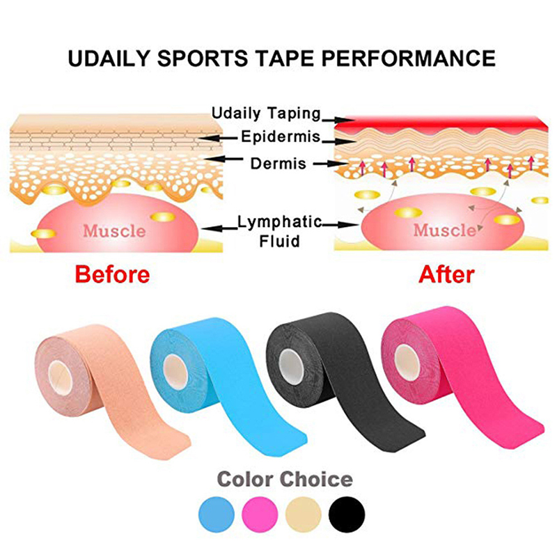 Image 3 - 2Size Kinesiology Tape Athletic Tape Sport Recovery Tape Strapping Gym Fitness Tennis Running Knee Muscle Protector Scissor-in Elbow & Knee Pads from Sports & Entertainment