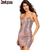 Zmvkgsoa Party Sexy Strap Rose Gold Sequin Dress Girls Ruched Club Mini Bodycon Vestidos Sequined Fabric