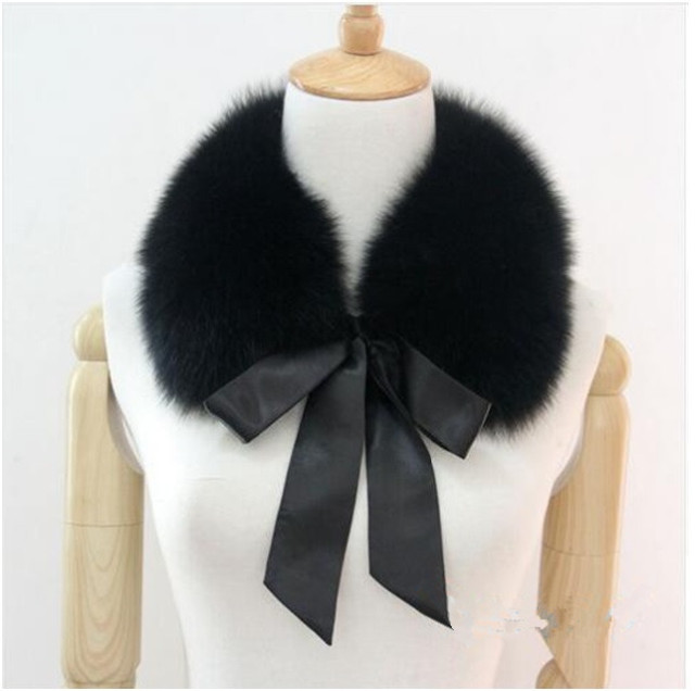 S802-Excellent false collar with bow Women autumn winter warm scarf black white pink  Square fox fur collar