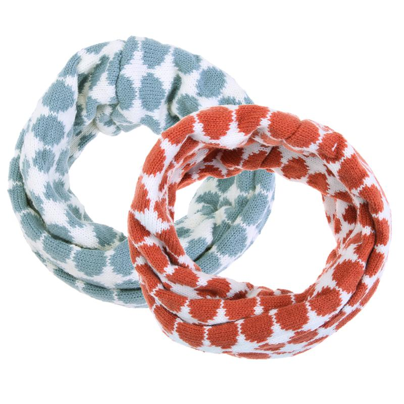 Baby Scarf Knit Wool O-Scarves Chidren Outing Protect Kint Polka-dot Pattern Double-deck Winter Boy Girl Scarf