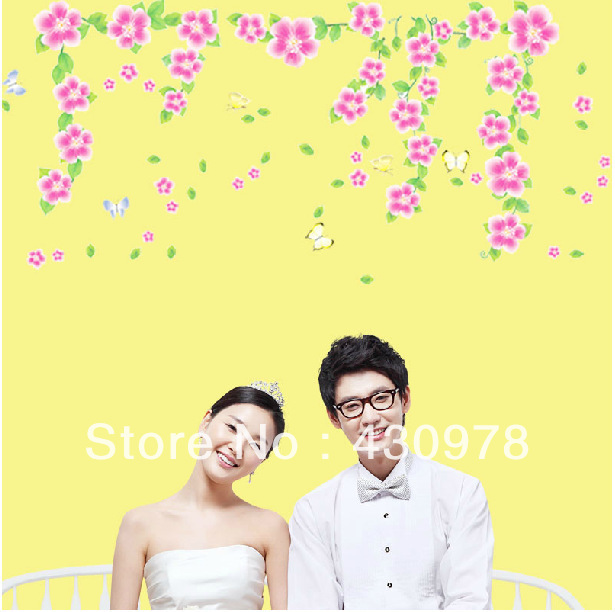 QZ013 Free Shipping 1Pcs Para Para Sakura DIY Wall Stickers Removable PVC Wall Stickers <font><b>Elegant</b></font> Fancy <font><b>Home</b></font> <font><b>Decoration</b></font> Gift