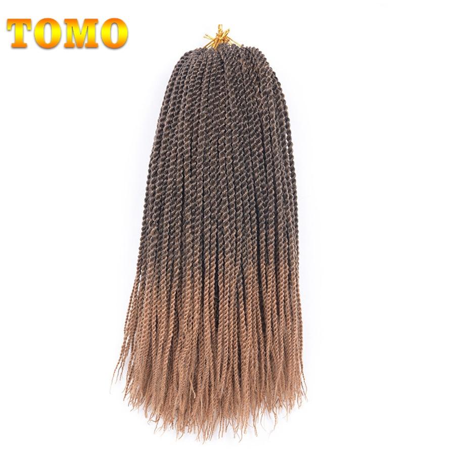 "TOMO Senegalese Twist Ombre Kanekalon Braiding Hair 16"" 30Roots Synthetic Crochet Braids Hair Extensions 10Pcs 15 Colors"