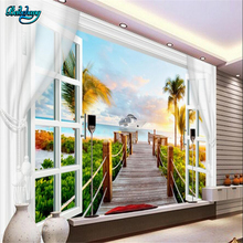 beibehang Large Custom Wallpaper Mural Living Room Landscape 3D Window Curtain Coconut Palm Palm Background Wall