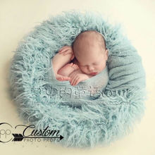 24in circle Pure wool fur blanket  Newborn props infant basket filler stuffer photo baby Photography backdrops background fleece
