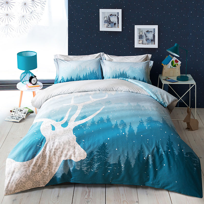 Fashion Tree Deer Blue Forest Bedding Set 4pcs Queen Size