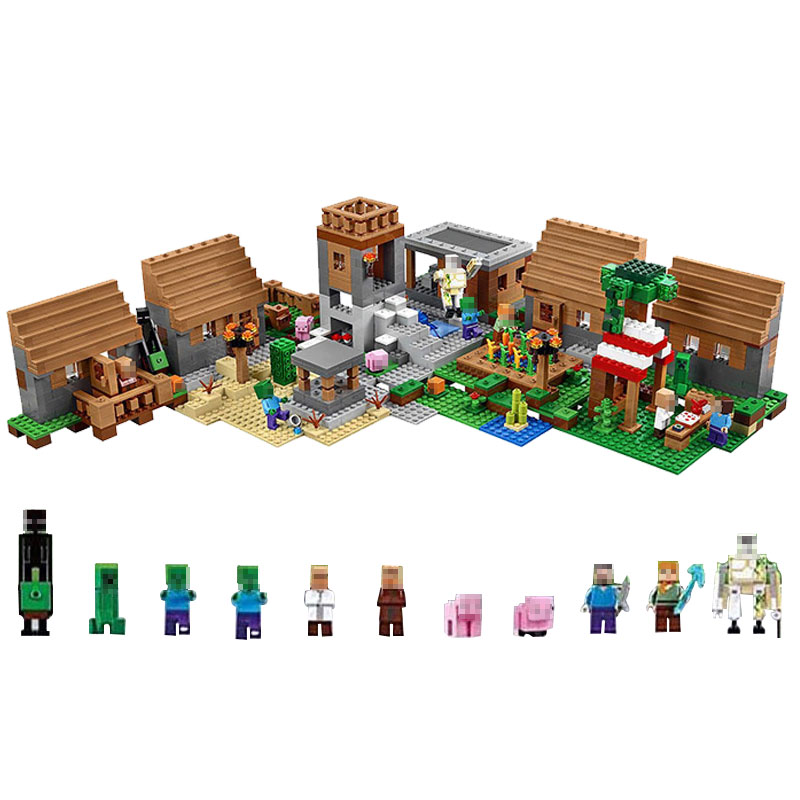 Blocks Creative Legoing Minecraft My Worlds Village Zombie Steve Action Figures Set Building Blocks Toys Compatible Minecrafted Legoings Figure