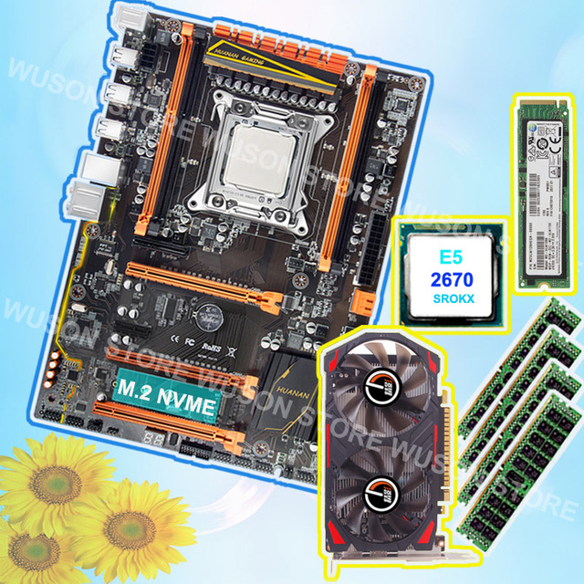 US $437 72 38% OFF|Brand HUANAN ZHI Gaming X79 motherboard with M 2 128G  NVME SSD GPU GTX750TI 2G RAM 4*8G 1600 RECC CPU Intel Xeon E5 2670  2 6GHz-in