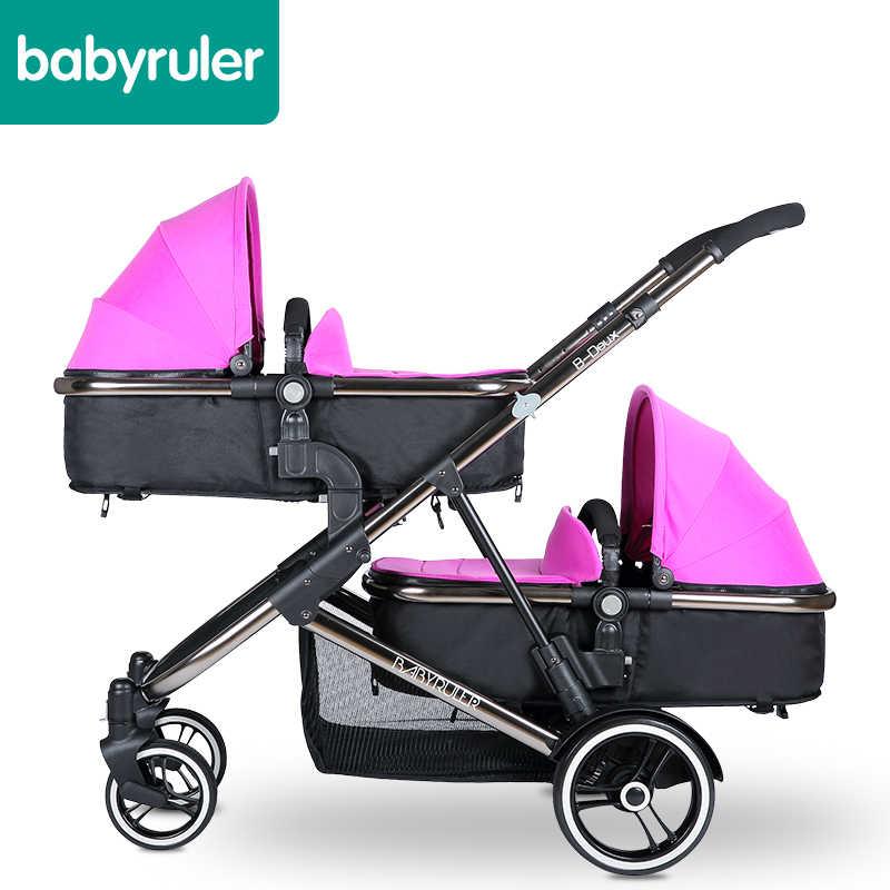 Thương hiệu Xe Đẩy Trẻ Em 2 trẻ em ô tô Cặp Sinh Đôi Xe Đẩy Bassinet 0 ~ 36 Tháng Xe Đẩy 4 Màu Sắc Đế Xe Chất Lượng Cao gửi Phụ Kiện
