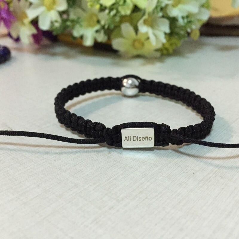 Black Ball Beads Bracelet Customized Logo Bracelets For Leather Wrap Diy