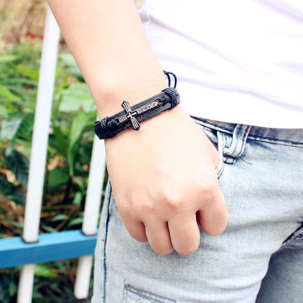 Leather Bracelet for Men with Cross