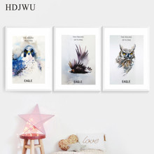 Nordic Art Home Decor Canvas Painting Watercolor Animal eagle Printing Wall Poster for Living Room  DJ46